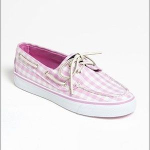 Sperry topsider pink gingham boat shoes